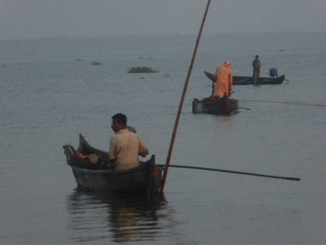 Fishermen up early in the Kerala Backwaters